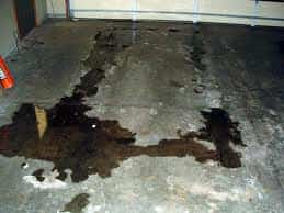 Oil stained concrete