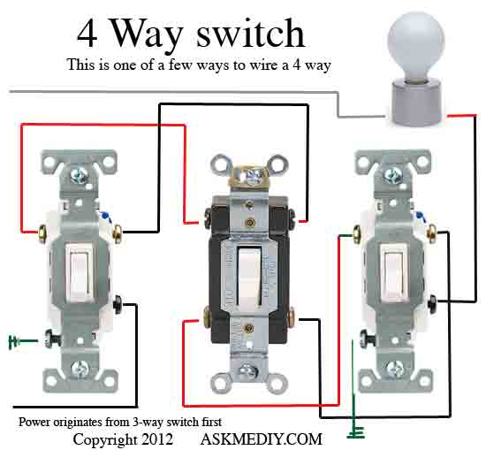 How to install a 4 way switch - AskmeDIY Light Switch Wire Wiring Diagram on 4 wire fan diagram, 4-way circuit diagram, 4 wire motor diagram, 3-way switch diagram, 4 wire pull, 3 speed fan switch diagram, 4-way switch diagram, 2-way switch diagram, switch connection diagram, 55 chevy headlight switch diagram,